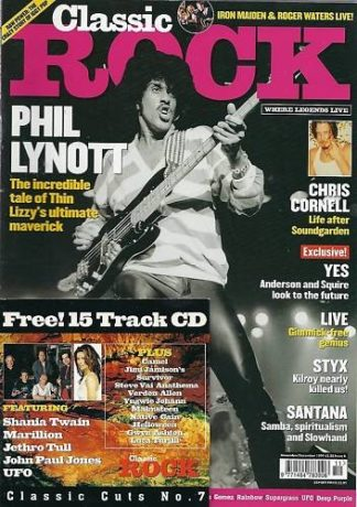 CLASSIC ROCK magazine 8 (Nov.-Dec. 1999) with CD Phil Lynott (Thin Lizzy) Yes, Styx, YES, LIVE, SANTANA, IGGY POP, Iron Maiden..