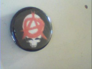 Anarchy Skull Pin Button. Free for orders of £15+