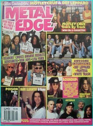 Metal Edge June 1994. Pantera, Poison, Slaughter, Motley Crue, Mr. Big, Anthrax, Aerosmith, Bon Jovi