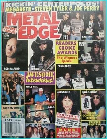 Metal Edge June 1995 Aerosmith, Megadeth, Van Halen, Bon Jovi, Faith No More, Skid Row, Warrant, White Zombie, Fight, Vince Neil
