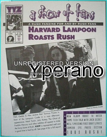 RUSH: A show of fans Number 7. RUSH FANZINE: Issue 7, summer 1993. Rare.