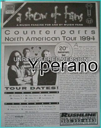 RUSH: A show of fans Number 8. RUSH FANZINE: Issue 8, winter 1993. Rare.