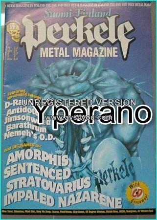 Perkele metal magazine.Special issue ONE 1. Amorphis, Sentenced, Stratovarius, Impaled Nazarene, Tarot.. (Suomi Finland)