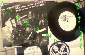 "THE ROADHOLDERS: Rhythm and speed + Motorcycle girls! 7"" white label test pressing. Glam/Punk. Rocky Rhythm's post-Revillos band"