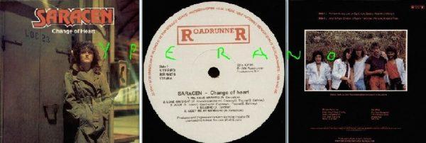 SARACEN: Change of Heart LP 1984 Roadrunner Records with inner. Check videos