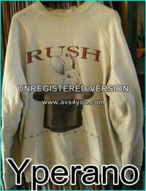 Rush: Presto Tour 1990. sweat Shirt. Long sleeve shirt. Rabbit in Top Hat. Original vintage from the Rush Fan club.