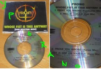 PRONG Whose Fist Is This Anyway [Four Industrial Mixes] CD. 4 songs incl. cover of The Stranglers. Check video