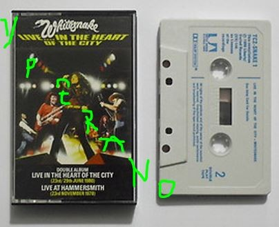 WHITESNAKE: Live- In The Heart Of The City & Live At Hammersmith. 2 in 1 tape / cassette UK. Double live. 1980 RARE