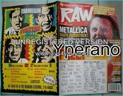 Raw magazine 156, August 1994 Metallica Lars Ulrich, Soundgarden, The Cult, ACDC, Pearl Jam + Whitesnake Family Tree Posters