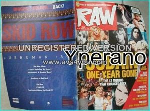 Raw magazine 172, April 1995. Cobain one year gone. Nirvana, Kurt Cobain 12 pages special. Mad Season, Skid Row, Dream Theater..