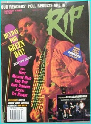 Rip March 1995 magazine Green Day, Pantera (Vinnie Paul's personal Road story), NOFX, Machine Head, Skid Row, King DIamond..