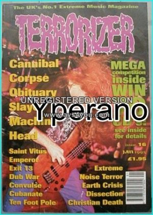 TERRORIZER 16. Jan 1995. Cannibal Corpse, Obituary, Slayer, MACHINE HEAD, Saint Vitus, Emperor, Exit 13, Dub War