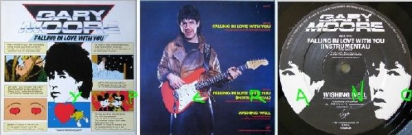 """GARY MOORE: Falling In Love With You 12"""" UK + instrumental version + Free cover. Highly Recommended."""