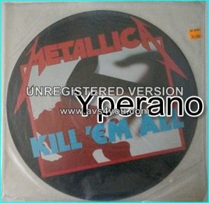 "METALLICA: Kill em All [Picture Disc] MFN 7 P. ""Kill `Em All"" logo in blue. No barcode."