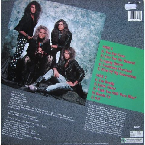 9.0: Too Far Gone LP. Roadrunner 1990. guitar-laden metal. Paul Gilbert Mr. Big influenced.
