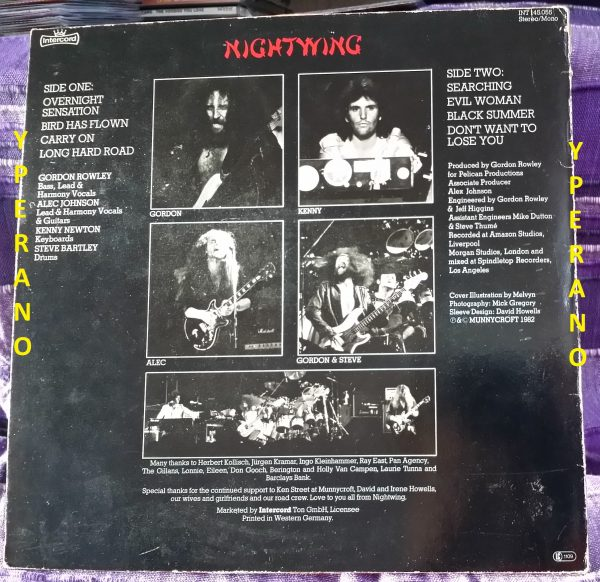 NIGHTWING: Black Summer LP (vinyl in mint condition). Legendary UK Hard rock / NWOBHM 1982. Check samples