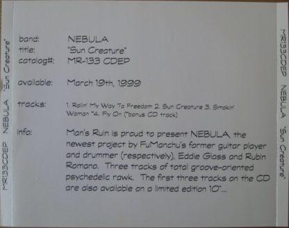 NEBULA: Sun creature CD PROMO RARE + (Bonus CD track).