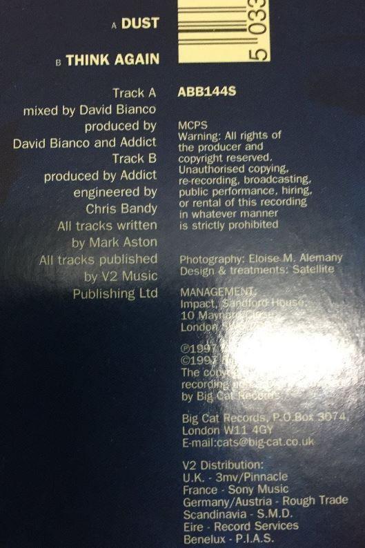 """ADDICT: Dust 7"""" Brit Pop, Indie Rock. Ex- Bus. Check audio"""