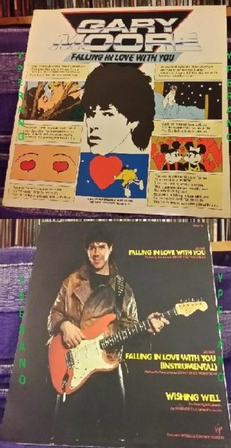 "GARY MOORE: Falling In Love With You 12"" UK + instrumental version + Free cover. Highly Recommended."