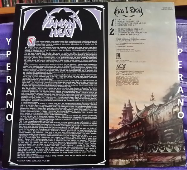 DIAMOND HEAD: Am I Evil LP. Different less polished versions. FM 1987. Rodney Matthews cover artwork. NWOBHM. Check audio