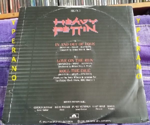 """HEAVY PETTIN: In and out of Love 12"""" produced by Brian May + live @ Rock Show, BBC Radio 1. Check videos 1983"""