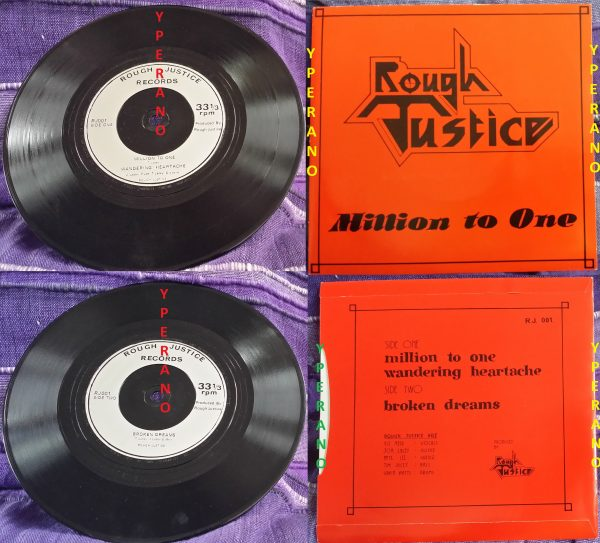 """ROUGH JUSTICE: Million To One 7"""". Mint. Check audio. Ultra RARE NWOBHM. 1982 self financed single."""