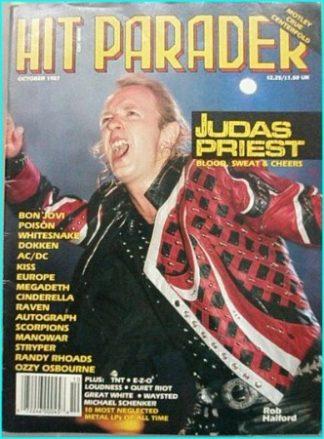 Hit Parader October 1987 Judas Priest, Bon Jovi, Poison, Whitesnake, Dokken, ACDC, Cinderella, Megadeth, Ozzy Osbourne, Raven