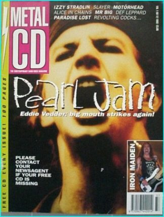 Metal CD vol 1 No 12 magazine. 1993. RARE Metal CD Pearl Jam (Eddie Vedder), Slayer, Motorhead, Alice in Chains