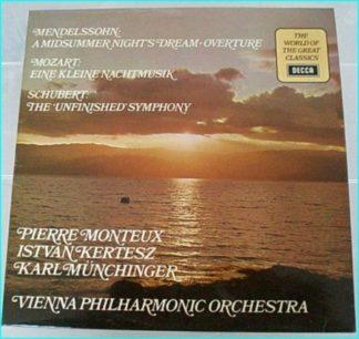 Vienna Philharmonic Orchestra Mendelssohn, Mozart, Schubert LP (mint cond.). PIERRE MONTEUX / ISTVAN KERTESZ / KARL MUNCHINGER