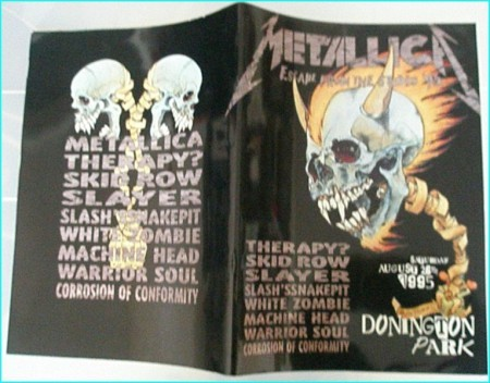 Monsters Of Rock Festival programme 1995 Metallica, Therapy, Skid Row, Slayer, Slash, White Zombie, Machine Head, Warrior Soul