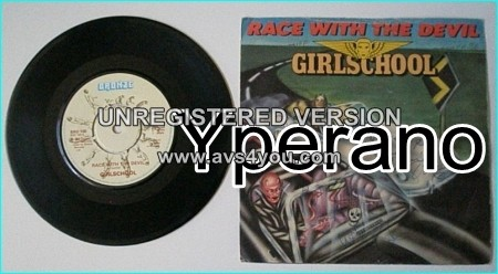 "GIRLSCHOOL: Race With The Devil 7"" Check video. SIGNED Autogrphed."