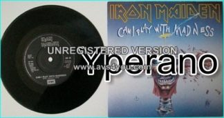 "IRON MAIDEN: Can I Play with Madness 7"" + Black Bart Blues EMI EM 49, with black label"