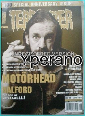 TERRORIZER 100 JUN '02 MOTORHEAD (11 page special with Lemmy)- HALFORD - IMMORTAL, Hypocrisy, Dillinger escape plan, Primal Fear