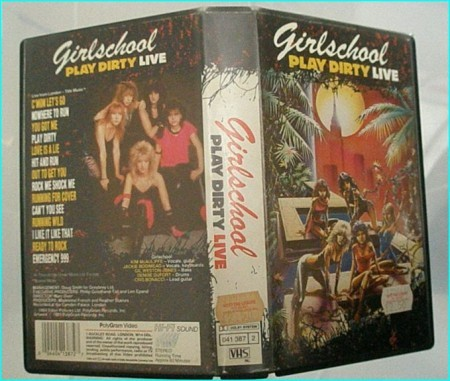 Girlschool play dirty LIVE VHS tape