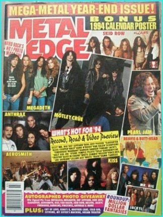 Metal Edge March 1994. Skid Row, Megadeth, Motley Crue, Anthrax, Pearl Jam, Beavis & Butthead, Aerosmith, Kiss, Mr. Big, Jackyl