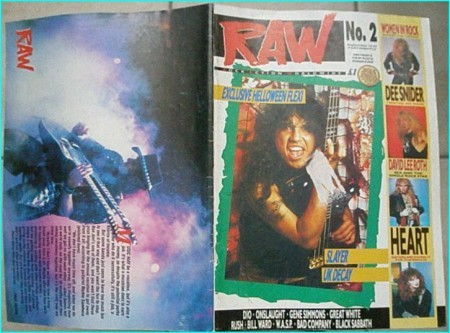 Raw magazine 2 September 1988 Slayer on cover, Vixen, Dee Snider, David lee Roth, Heart, Dio, Onslaught, Kiss, Great White, Rush