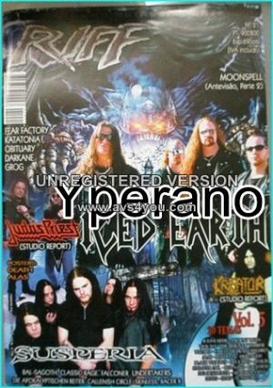 Riff magazine No. 21 with posters. Iced Earth cover, Kreator, Judas Priest, Fear Factory, Katatonia, Obituary, Darkane, Death