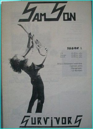 SAMSON issue 1, Survivors. Samson fanzine. Features an exclusive interview with Bruce Dickinson