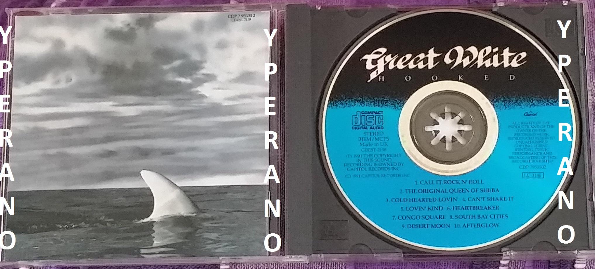 GREAT WHITE: Hooked CD. Original, 1st press, Rare 1991