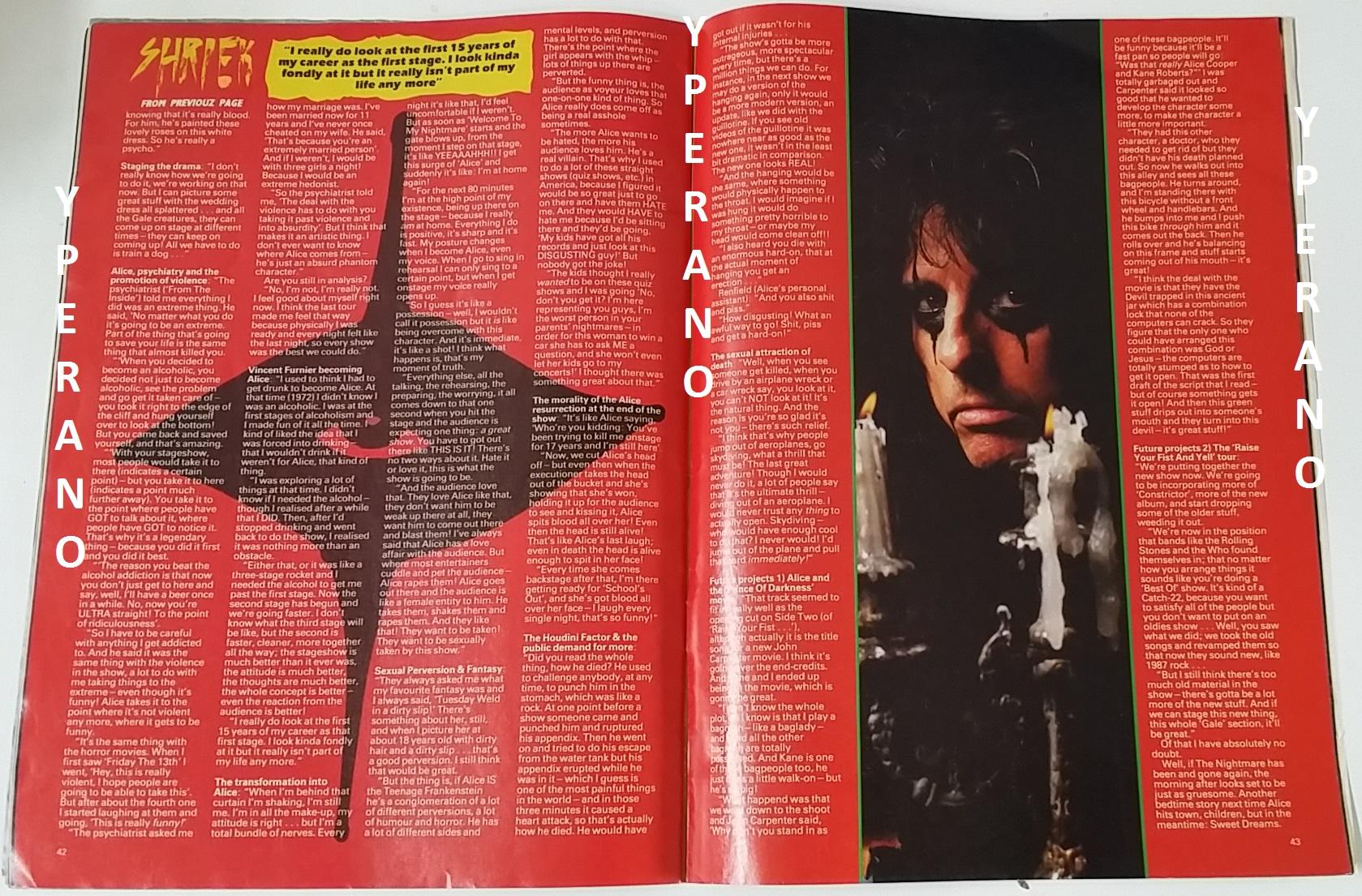 KERRANG NO. 159 October 1987 with stickers! Alice Cooper ...
