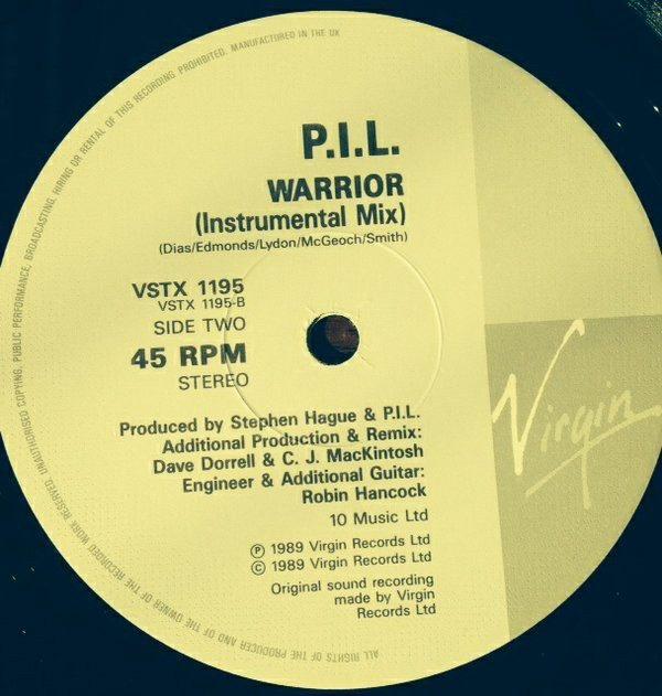 "P.I.L. Public Image Ltd: Warrior 12"" Dave Dorrell Remix. Johnny Rotten / John Lydon The Sex Pistols singer. Check video"