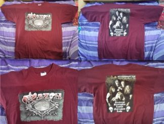 Saxon T-shirt XL burgundy colour with Tour Dates 30th anniversary (back) NWOBHM