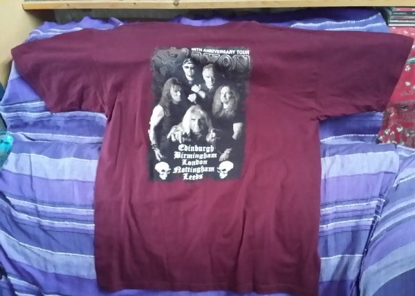 Saxon T-shirt XL burgundy colour with Tour Dates 30th anniversary (back) NWOBHM
