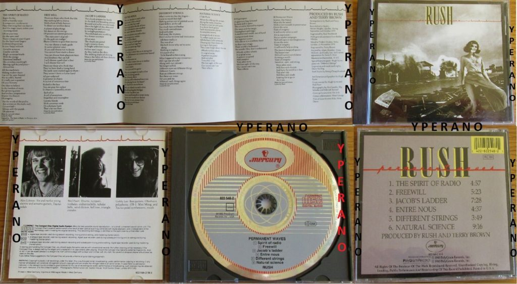 RUSH Permanent Waves CD 1980 German / West Germany  Check videos  The  Spirit of Radio, Freewill, Jacob Ladder